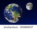 earth and moon in the universe. ... | Shutterstock . vector #503808457