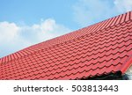 red metal roof tiles. metal... | Shutterstock . vector #503813443