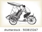 sketch of tricycle taxi in... | Shutterstock .eps vector #503815267