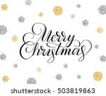 merry christmas card with hand... | Shutterstock .eps vector #503819863