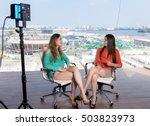 beautiful female presenter... | Shutterstock . vector #503823973