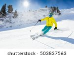 skier skiing downhill in high... | Shutterstock . vector #503837563