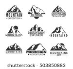 Hand Drawn Mountains Logo Set....