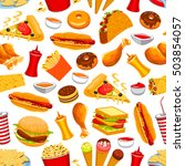fast food vector seamless... | Shutterstock .eps vector #503854057