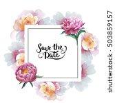 wildflower peony flower frame... | Shutterstock . vector #503859157
