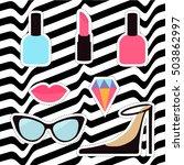 quirky cartoon sticker patch...   Shutterstock . vector #503862997