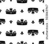 monochrome seamless pattern...   Shutterstock .eps vector #503865967