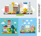 set of different landscapes in... | Shutterstock .eps vector #503883487