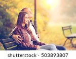 young couple are relaxing on a... | Shutterstock . vector #503893807