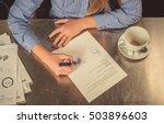 view of businesswoman hands  ...   Shutterstock . vector #503896603