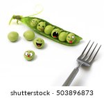 peas. green pea pods and peas... | Shutterstock . vector #503896873