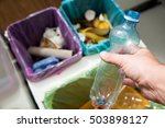 man putting empty plastic... | Shutterstock . vector #503898127