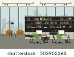 open space office in flat style ... | Shutterstock .eps vector #503902363