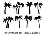 palm tree black set. vector... | Shutterstock .eps vector #503912893