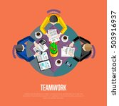 teamwork people at meeting...   Shutterstock .eps vector #503916937