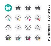 shopping basket icons with add  ... | Shutterstock .eps vector #503924533