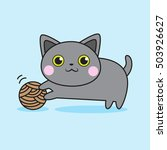cute cat playing with thread... | Shutterstock .eps vector #503926627