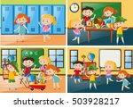 four scenes with students at... | Shutterstock .eps vector #503928217