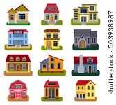 houses front view vector... | Shutterstock .eps vector #503938987