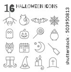 Halloween Linear Icons Set....
