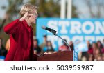 Small photo of U.S. Senator Elizabeth Warren, Democrat of Massachusetts, campaigns for Democratic presidential nominee Hillary Clinton at St. Anselm College in Manchester, N.H., on Oct. 24, 2016.