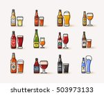 different kinds of beer bottles ... | Shutterstock .eps vector #503973133