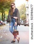 beautiful brunette fashion... | Shutterstock . vector #503984677