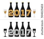 champagne bottles and glasses...   Shutterstock .eps vector #504025603