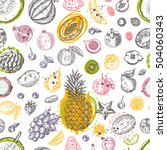 seamless pattern with tropical... | Shutterstock .eps vector #504060343