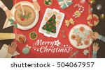 family celebrating christmas at ... | Shutterstock .eps vector #504067957