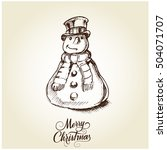 christmas card with snowman | Shutterstock .eps vector #504071707
