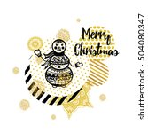 merry christmas card  snowman.... | Shutterstock .eps vector #504080347