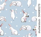 Stock vector cute seamless pattern with watercolor rabbits easter bunnies and dots 504085273