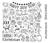 hand drawn christmas and new... | Shutterstock .eps vector #504114403
