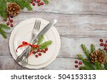 table setting with christmas... | Shutterstock . vector #504153313
