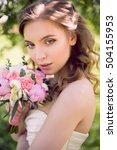 young bride in white dress and... | Shutterstock . vector #504155953