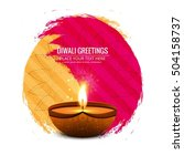 colorful bright happy diwali... | Shutterstock .eps vector #504158737