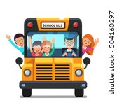 happy smiling kids riding on a... | Shutterstock .eps vector #504160297