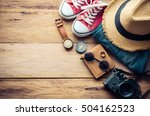 travel accessories and costume... | Shutterstock . vector #504162523