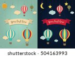 hot air balloon. sun with... | Shutterstock .eps vector #504163993