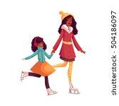 happy black mother and daughter ... | Shutterstock .eps vector #504186097