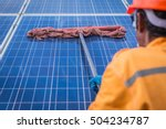 cleaning solar panel in solar... | Shutterstock . vector #504234787