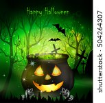 halloween witches cauldron | Shutterstock .eps vector #504264307