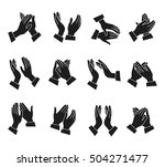 clapping monochrome icons set... | Shutterstock .eps vector #504271477
