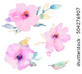 cute hand painted watercolor... | Shutterstock . vector #504276907