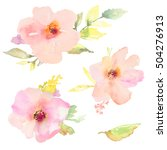 cute hand painted watercolor... | Shutterstock . vector #504276913