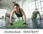 woman physical trainer... | Shutterstock . vector #504278197