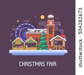 christmas fair in winter town... | Shutterstock .eps vector #504282673