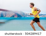 runner man listening to music... | Shutterstock . vector #504289417