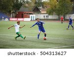Small photo of DAUGAVPILS, LATVIA - September 18, 2016: game episode in a football match with contact. Latvian championship, high league. BFC Daugavpils - Metta/LU 3:3